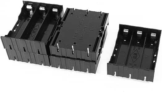 Saim Plastic 3.7V 18650 Batteries 6 Pin Battery Holder Case Black Pack of 5