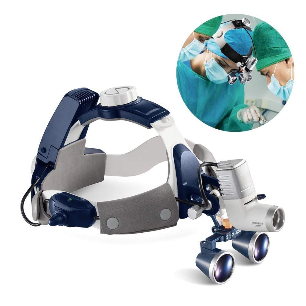 JIAHE115 Hand-held Magnifier Double Eyes Hands Free Headband Magnifier, LED with Headlights Visor Glasses Magnifying - for Dental Medical Surgical,Jewelry Appraisal, and Miniature 2.5X (Size : 2.5X) by JIAHE115