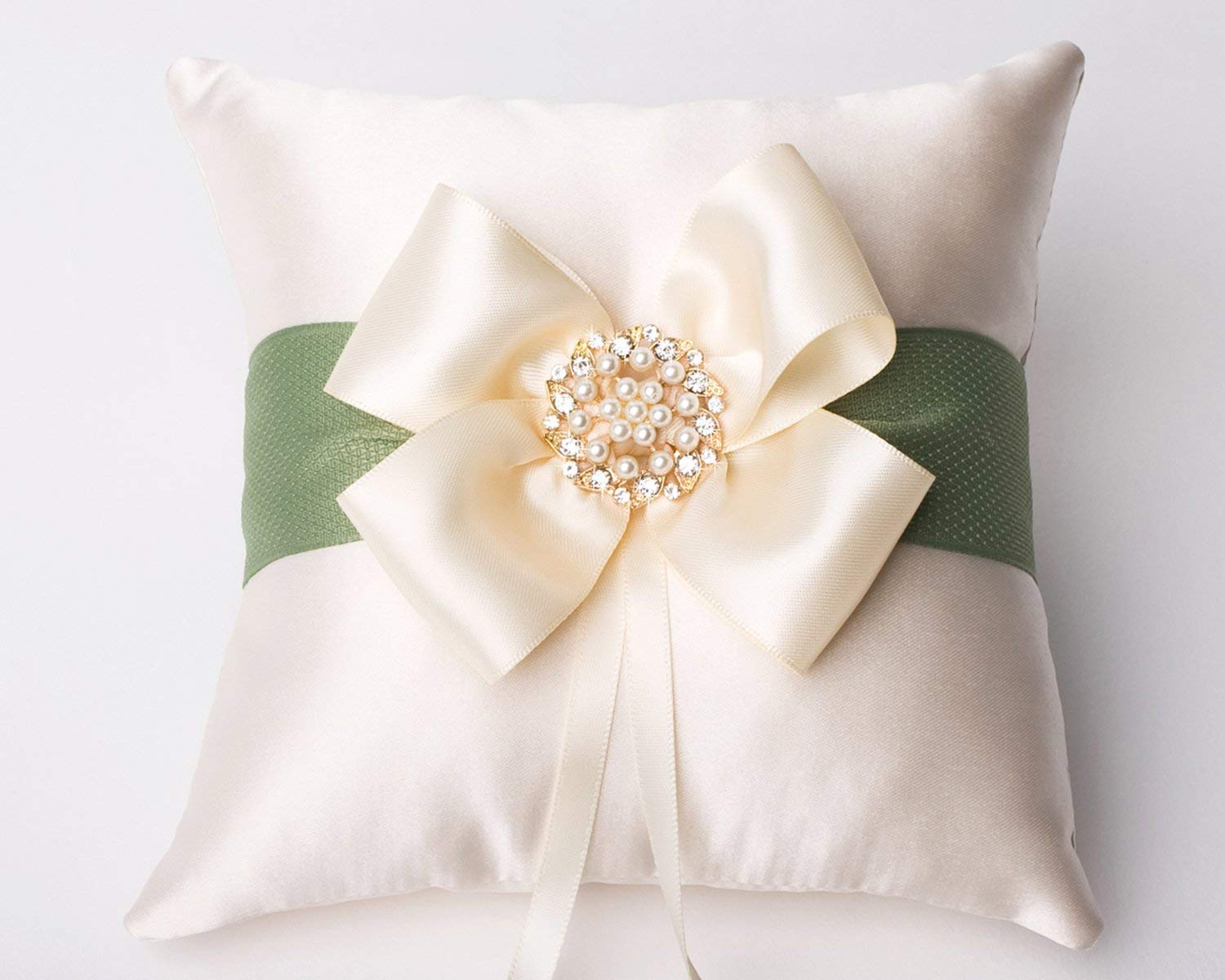 Amazon Com Champagne Wedding Ring Pillow Bow Ring Bearer Pillow