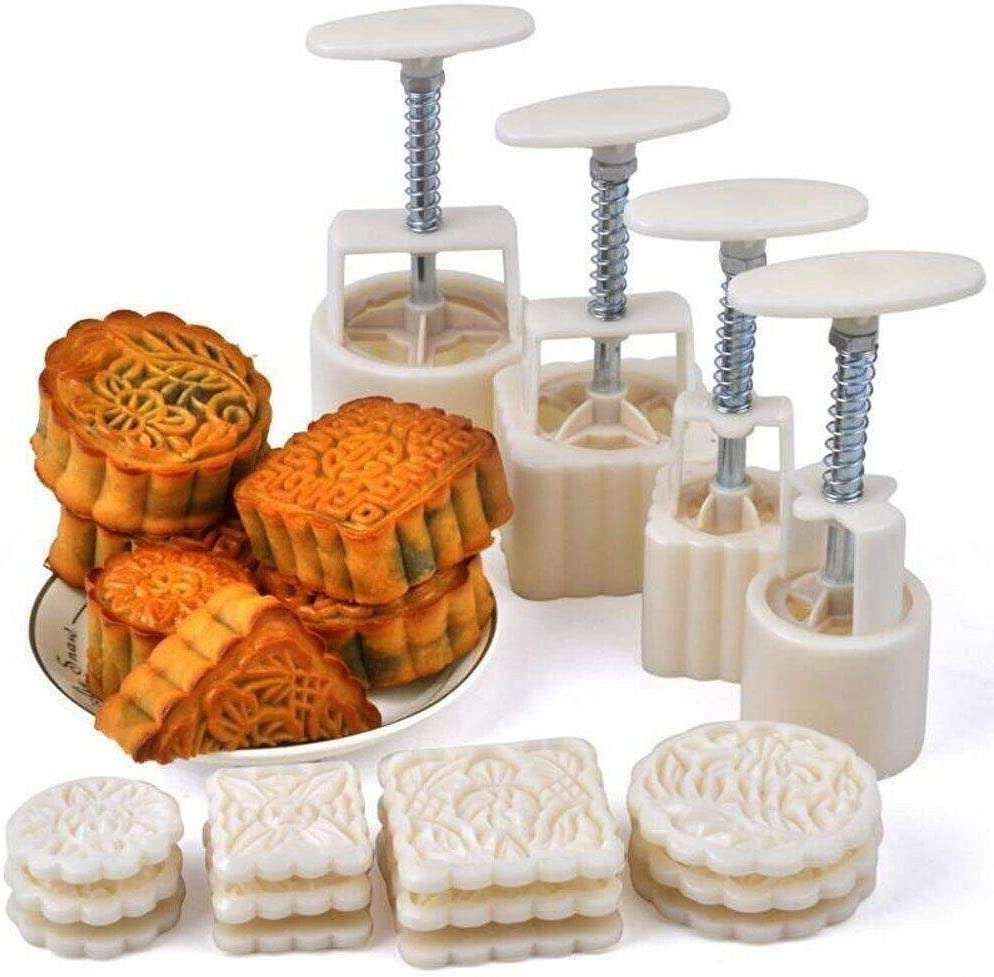 Mid-Autumn Festival DIY Hand-Pressure Moon Cake Mould with 12 Pcs Mode Pattern for 4 Sets