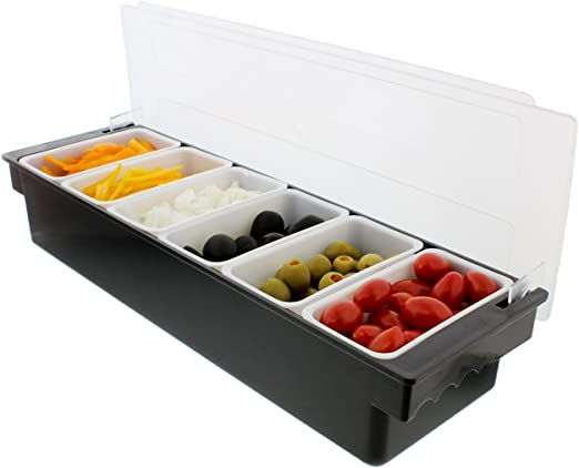 Ice Cooled Condiment Serving Container Chilled Garnish Tray Bar Caddy For Home Work Or Restaurant Serving Trays