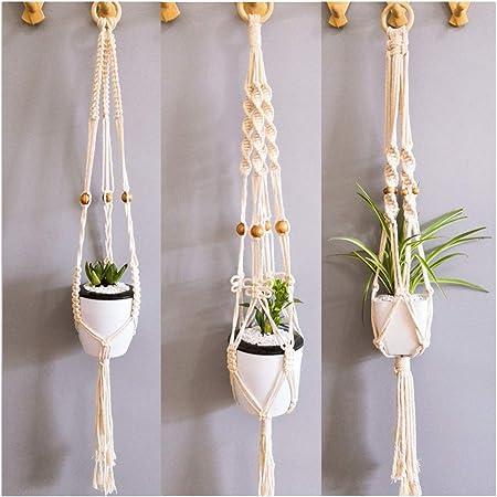 TIMESETL 2 Pack Macrame Plant Hanger Hanging Rope Baskets Pot Holder for Indoor Outdoor Garden Patio Balcony Ceiling Decoration Handmade Cotton Rope Hanging Plant Holder with Hooks
