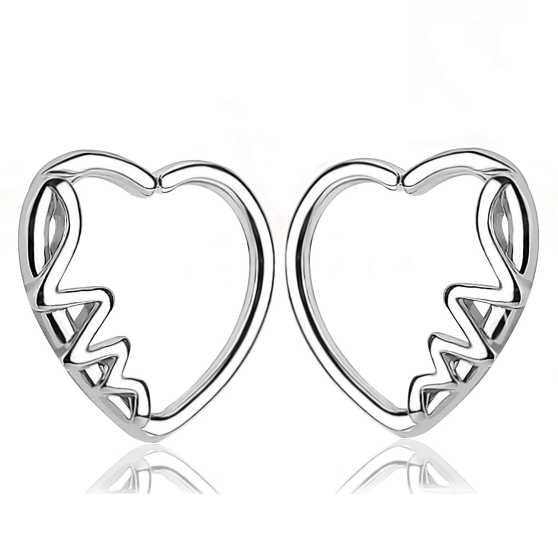 1d6c576a8 Amazon.com: TOPBRIGHT 2PCS Heart Shape with Love CZ Left Closure Daith  Cartilage Tragus Earring (Style D): Jewelry