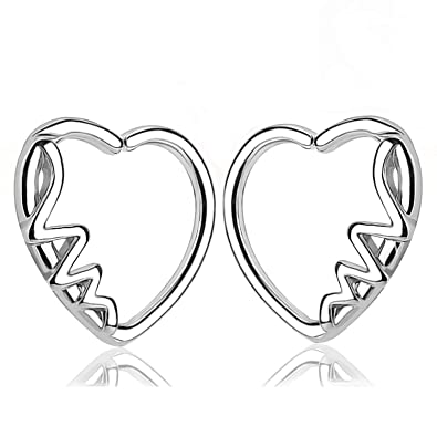 e6005d696 Amazon.com: TOPBRIGHT 2PCS Heart Shape with Love CZ Left Closure Daith  Cartilage Tragus Earring (Style D): Jewelry