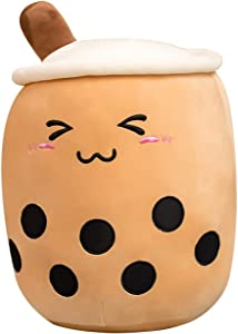 JackDuck Cute Bubble Tea Plush Pillow Stuffed Animal Cushion Cartoon Food Snack Plush Toys Milk Tea (9.8inch/13.7inch/19.6inch) Gift for Kids (Brown Close Eyes, 9.8inch)
