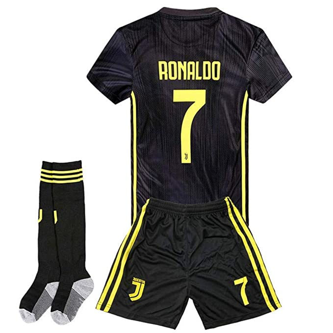new arrival 253d5 e851e Zawhz Juventus 2018-2019 Away Kids/Youth Cristiano Ronaldo #7 Soccer Jersey  & Shorts & Socks Black