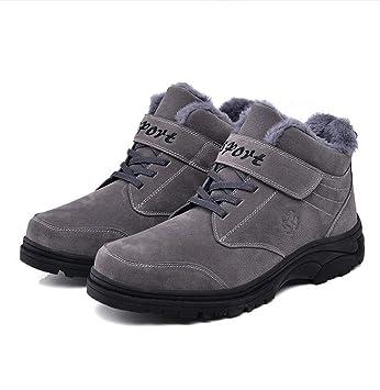 DANDANJIE Calzado de Hombre Calzado de Invierno Senderismo Senderismo Zapatos Altos Zapatillas Antideslizantes con Cordones Velcro Calzado Casual al Aire ...
