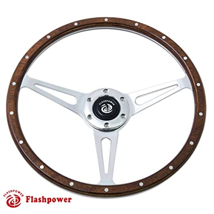 f9a86fb4a523eb Amazon.com: Flashpower 15'' Classic Wood Steering Wheel Riveted with Horn  Button: Automotive