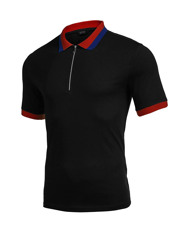 COOFANDY Mens Short Sleeve Polo Shirt Casual Zip up Polo