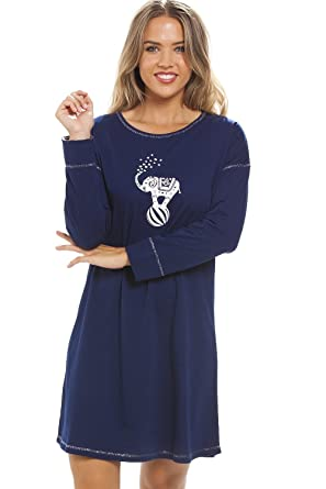 d0c4bb5bf1746 Camille Womens Ladies Long Sleeve Elephant Motif Navy Blue Knee Length  Nightdress 10 12  Amazon.co.uk  Clothing