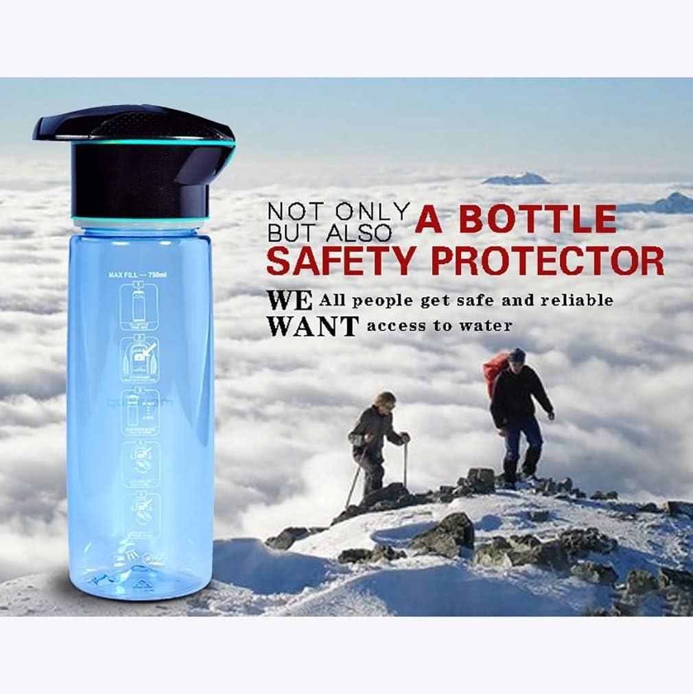ZUZEN Purificador de Agua al Aire Libre Camping Deportes Botella UV Botella Tapa 750ML Capacidad de Filtro de carbón Activado USB de Carga LED de iluminación de Alta ...