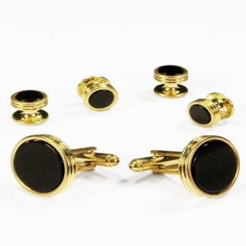 Black Onyx Concentric Circle Edge Tuxedo Studs and Cufflinks Gold Trim 3600