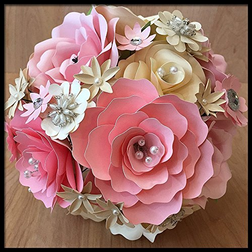 Pink & Ivory Paper Flower Wedding Bouquet