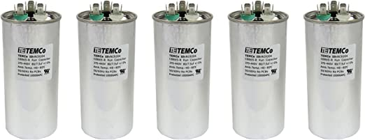 TEMCo 7.5 MFD uF Run Capacitor 370//440 vac Volts 50 LOT AC Motor HVAC 7.5 uf