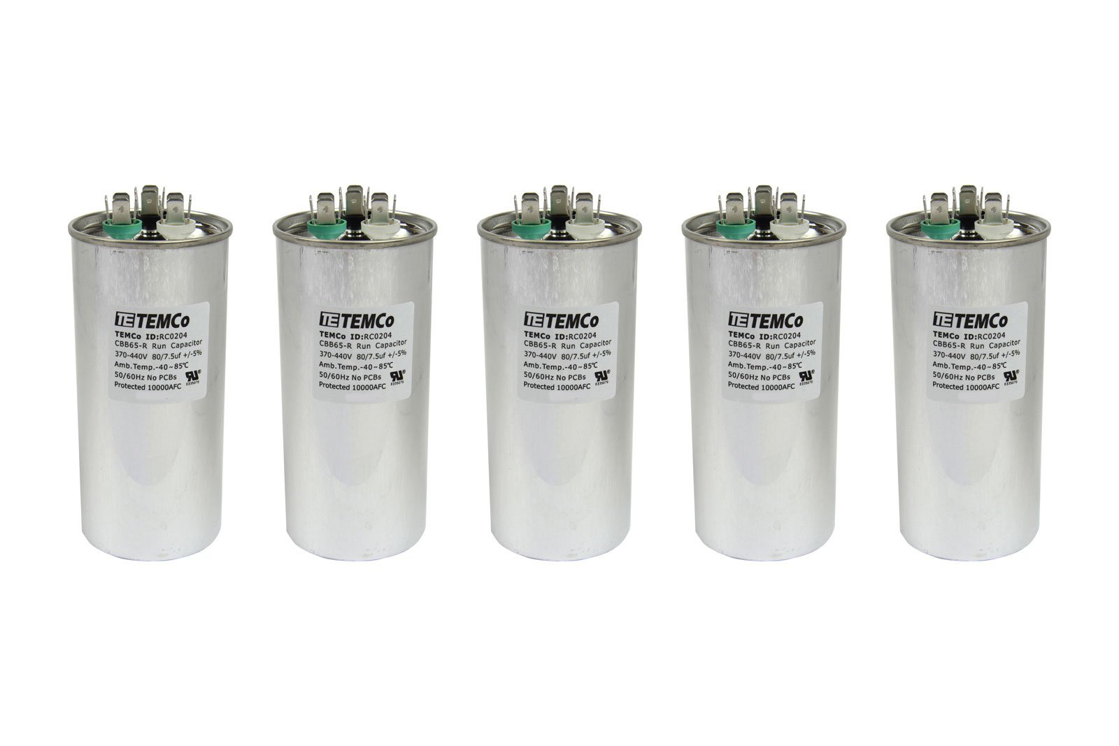 TEMCo 5 LOT Dual Run Capacitor RC0205-80/7.5 mfd 370 V 440 V VAC volt 80+7.5 uf AC Electric Motor HVAC