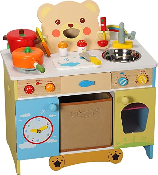 Deluxe Large Kitchen Toy Kids Children Boy//Girl Role Play Wooden Cooker Set Gift