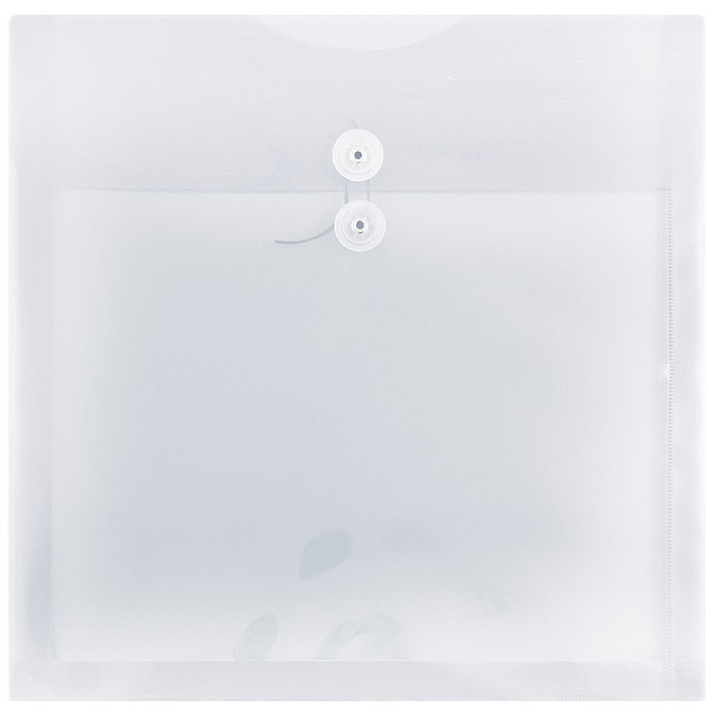 JAM PAPER Plastic Envelopes with Button & String Tie Closure - Large Square - 13 x 13 - Clear - 12/Pack