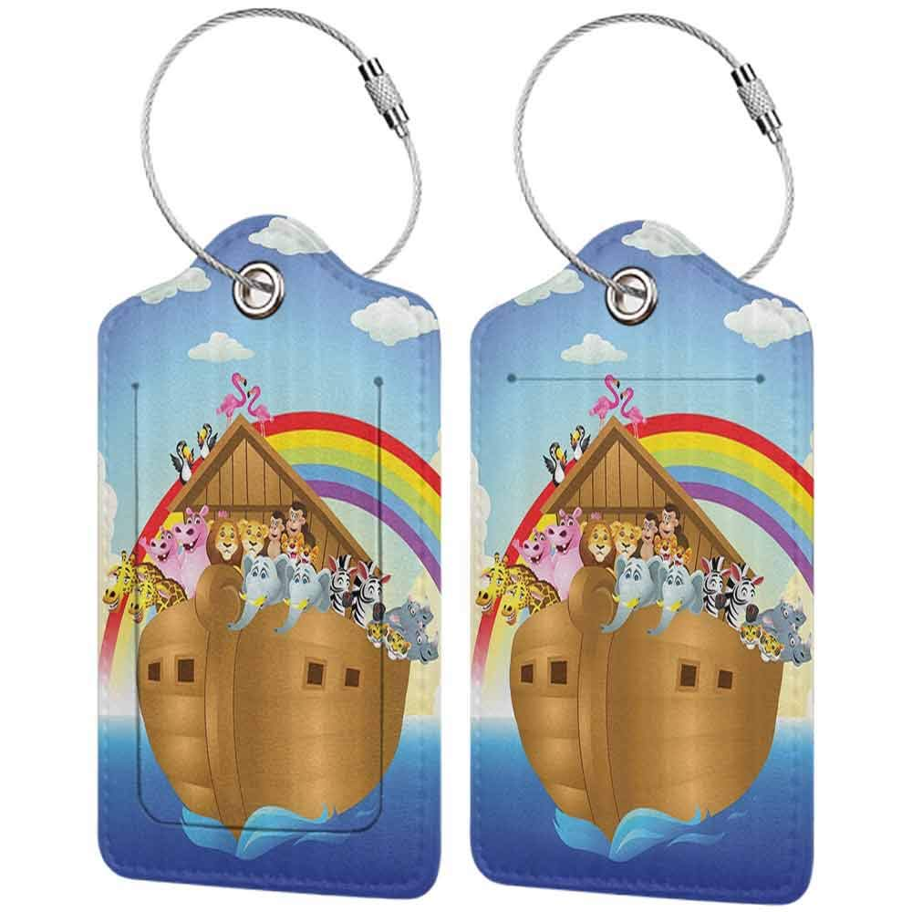 Waterproof luggage tag Noahs Ark Decor Collection llustration of Cute Animals in Noahs Ark Sailing in Sea Ship Old Story Sunset Rainbows Soft to the touch Blue Red Yellow W2.7 x L4.6