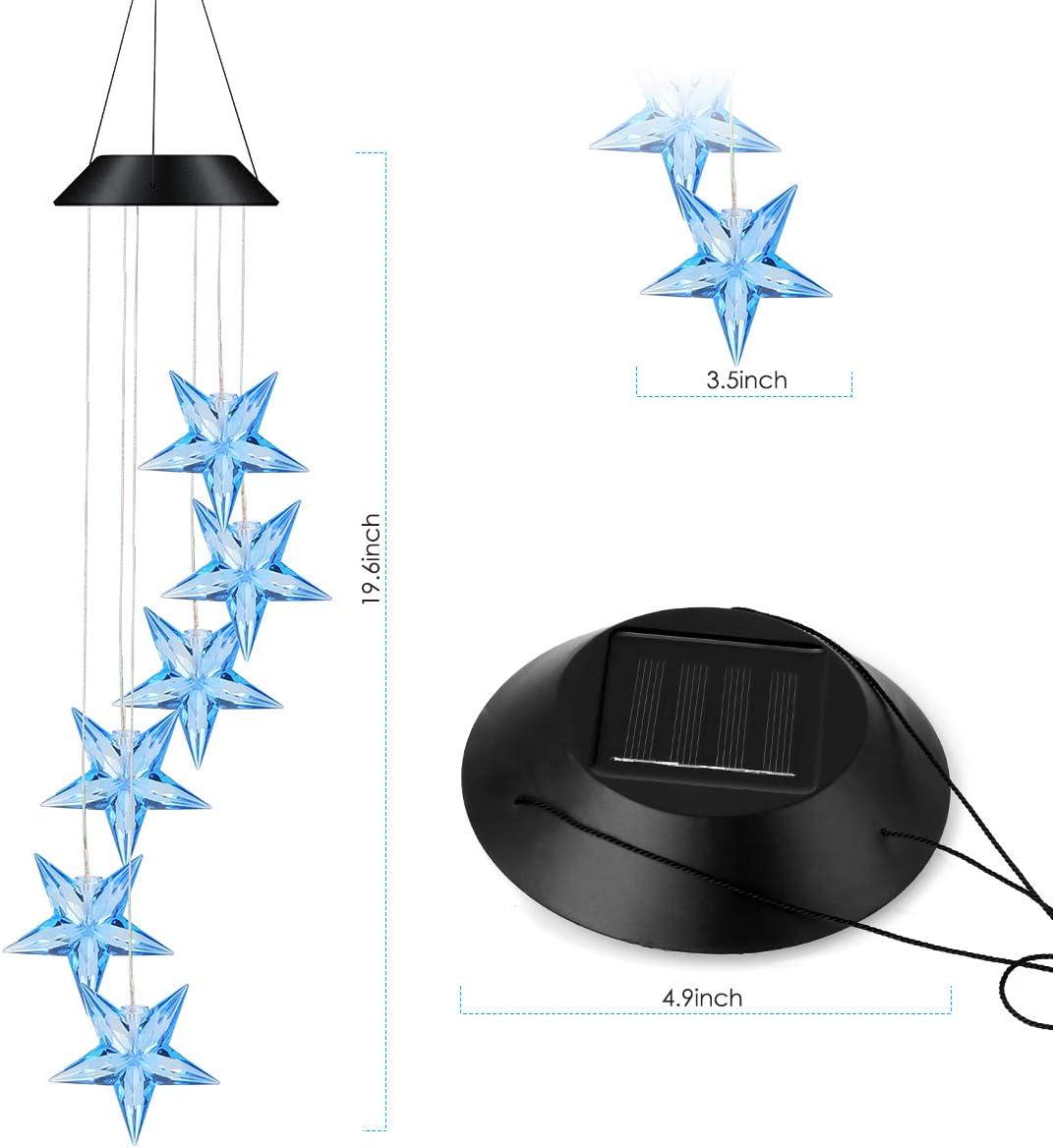 HelloCreate balc/ón jard/ín Carill/ón de Viento Solar Resistente al Agua Que Cambia de Color con el Sol y la Estrella LED para el hogar