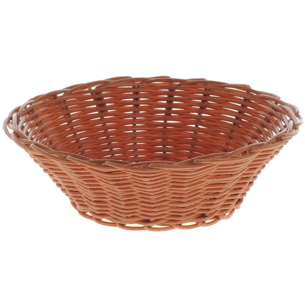 HUBERT Bread Basket Round Brown Woven Plastic - 7'' Dia x 2'' H