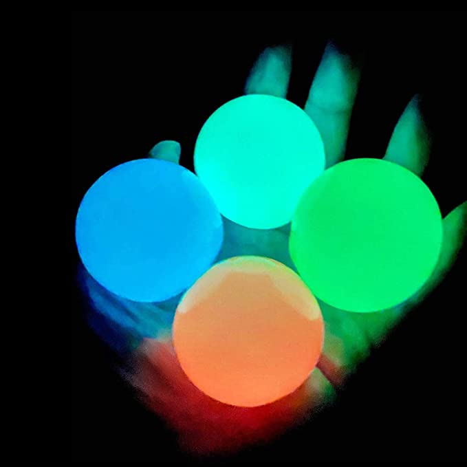 OCD Decompress Fluorescence Tear-Resistant Ceiling Sticky-Ball Fun Toy for ADHD 4Pcs Non-Toxic Anxiety Squishy Glow Stress Relief Toys for Kid and Adults Tear-Resistant