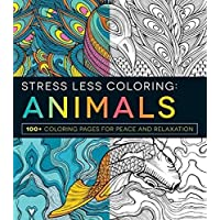 Stress Less Coloring Animals Peace Relaxation Imagination Kids Adults Teens Color Books Large Prints Designs 100 Pages