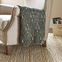 Stone & Beam Modern Heathered Cable-Knit Throw Blanket - 60 x 50 Inch, Dark Green