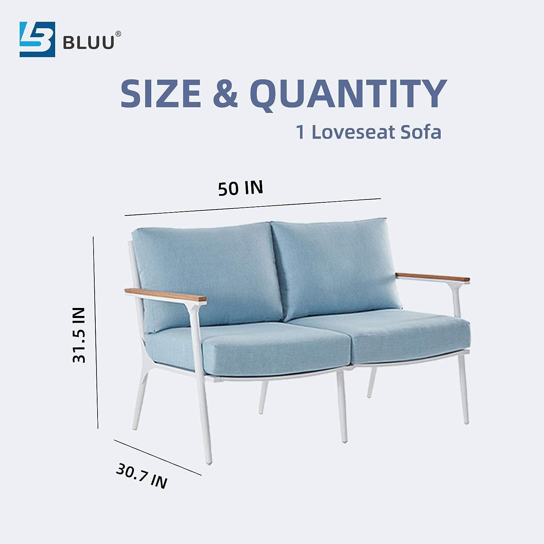 BLUU Loveseat Sofa in Patio Furniture Set Outdoor Aluminum Conversation Sets for Indoor Garden Porch Deck with Cushions (Loveseat): Garden & Outdoor