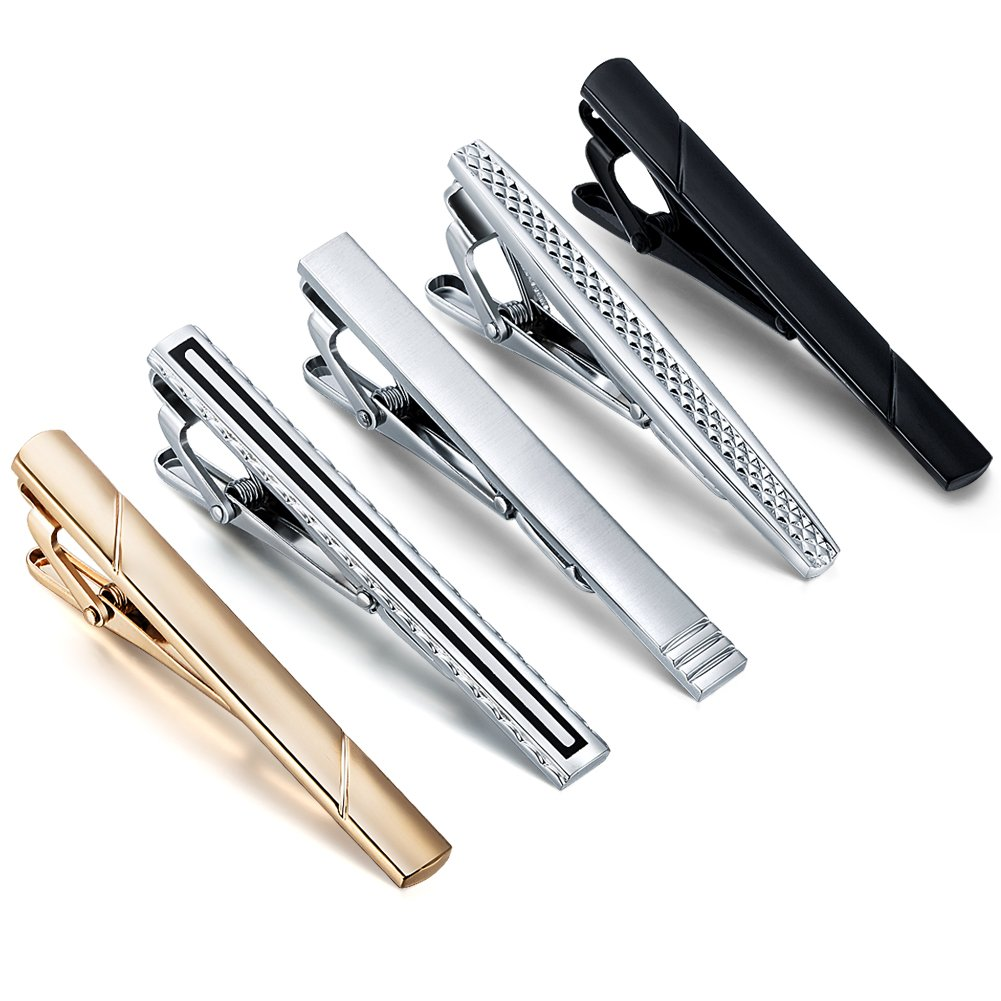 AnotherKiss 5 Pcs Tie Clips for Men, Fashion Silver Gold Black Tie Bar Clip Set for Wedding Business