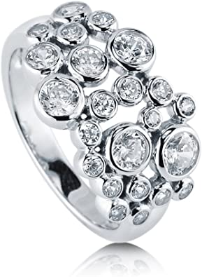 Buy For Less Clear Bezel Cubic Zirconia Beaded Eternity Ring Rhodium Plated Sterling Silver