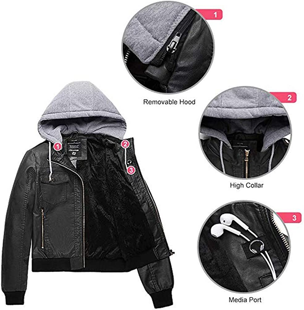 Minibee Fall Jackets for Women PU Faux Leather Jacket Motorcycle with Removable Hood