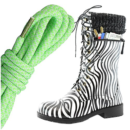 Dailyshoes Womens Combat Stijl Lace Up Enkellaarsje Ronde Teen Militaire Knit Creditcard Mes Geld Portemonnee Pocket Laarzen, Lime Witte Zebra Pu