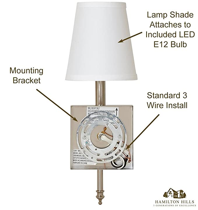 Single Traditional Wall Light With Fabric Shade | Polished Nickel ...