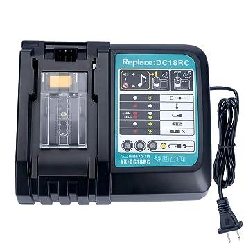 Cargador de litio 14,4 V 18 V 3 A con conector USB de repuesto para Makita DC18RC DC18RA DC18RD, compatible con baterías BL1860 BL1850 BL1840 BL1830 ...