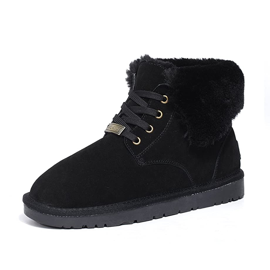 Men's Winter Frosted Lace up Warm Fur Leather Tall Martin Boots