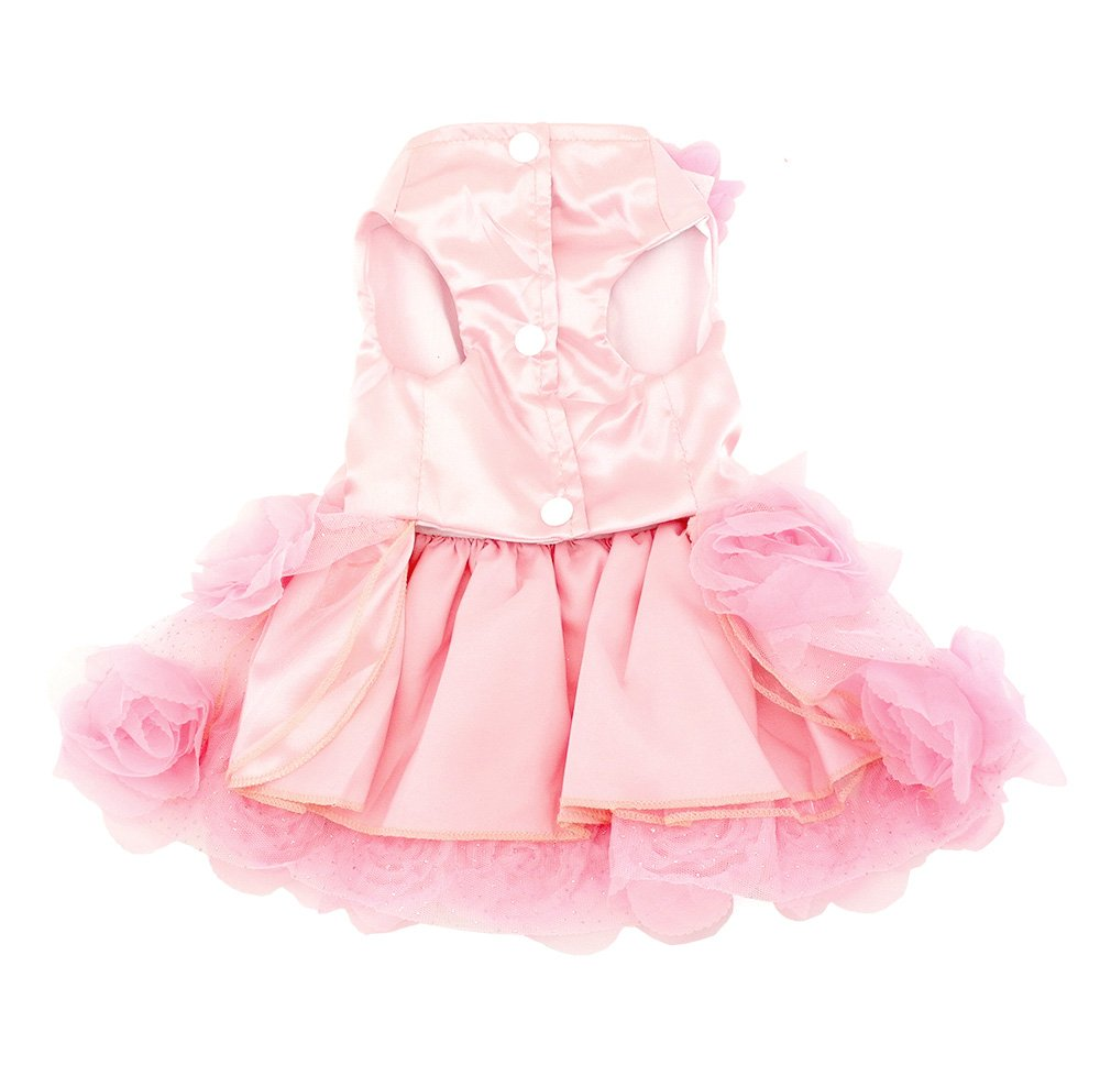 smalllee/_lucky/_store Pet Small Dog Puppy Cat Clothes Coat Wedding Costume Satin Rose Formal Dress Tutu Pink XS