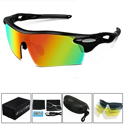 aimdonr Fashion Sport – Gafas de sol, polarizadas con 5 lentes para hombres, conducción