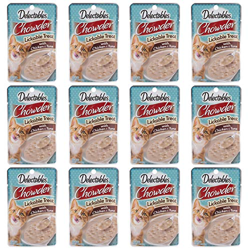 Delectables Chowder Lickable Wet Cat Treats - Chicken & Tuna - 12 Pack - 3270015501
