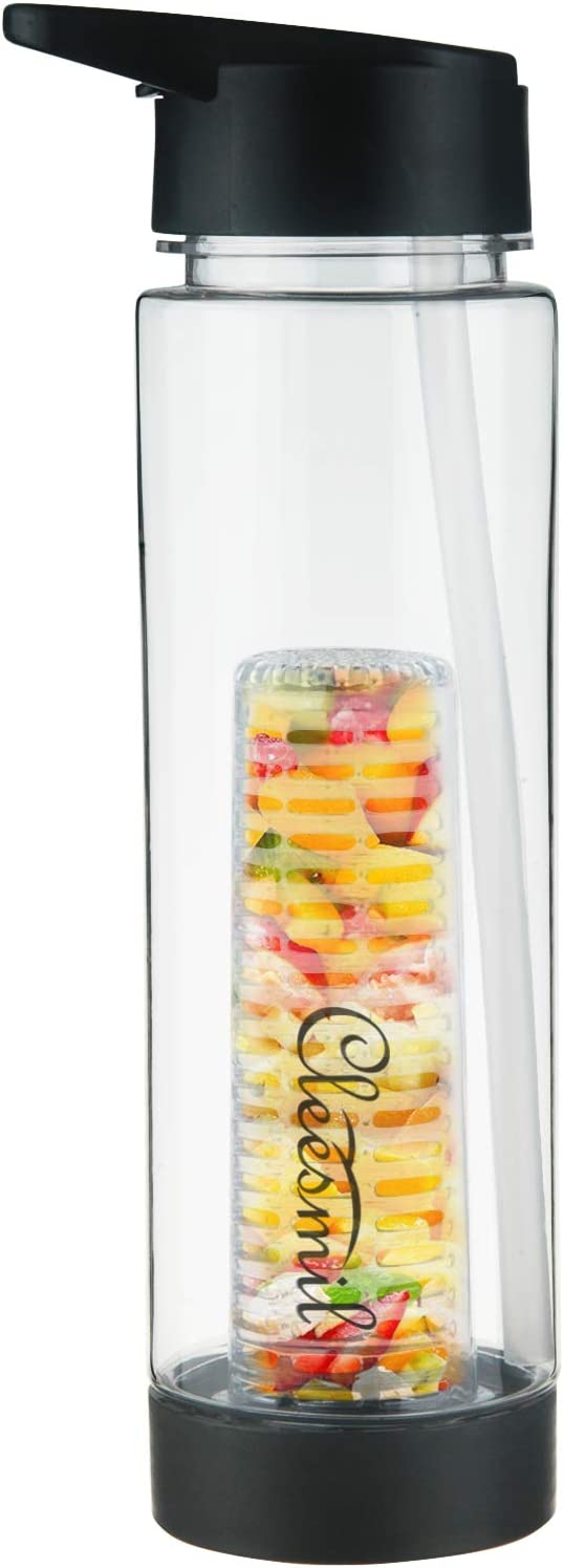 Cleesmil Fruit Infuser Tritan Water Bottle with Straw Lid and Infusion Basket BPA Free 24 oz