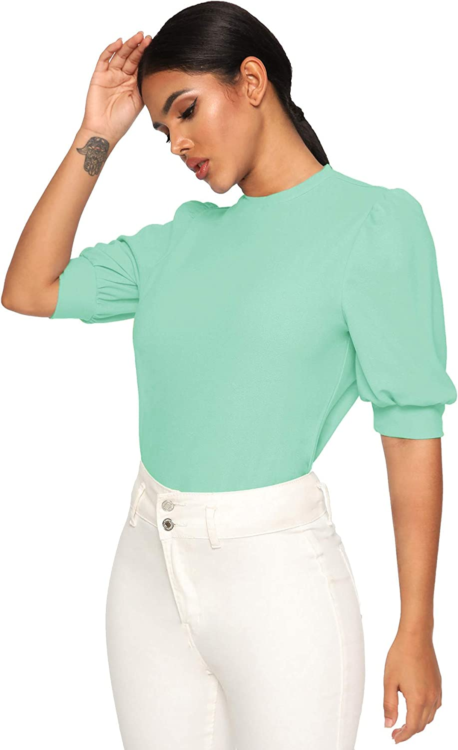 SheIn Women's Puff Sleeve Casual Solid Top Pullover Keyhole Back Blouse