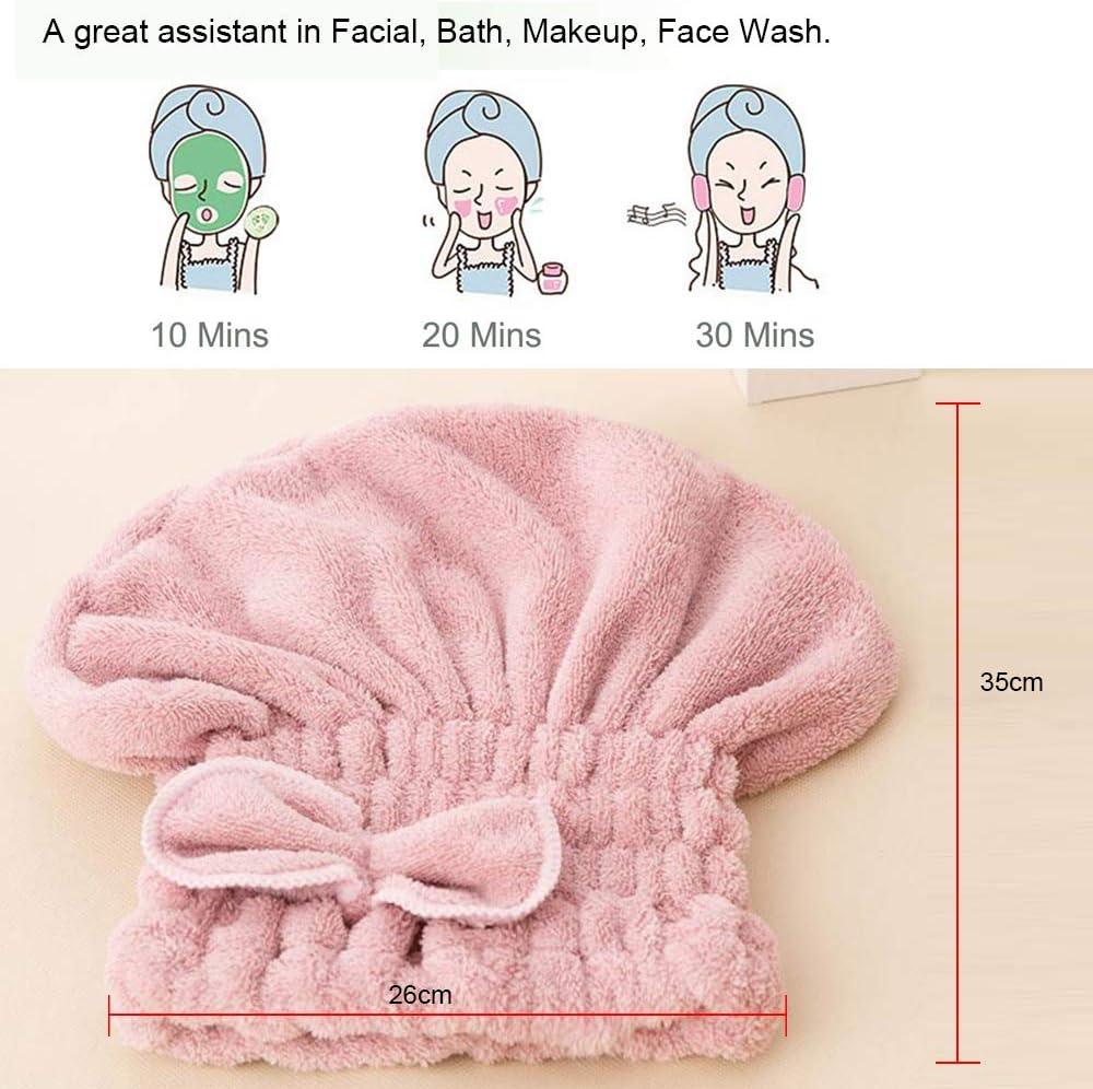 Asciugamano Capelli Turbante Donna in Microfibra Rosa, bianco Cappuccio per Capelli Secchi Super Assorbente Asciugatura Rapida Capelli ispessimento cuffia per doccia con 2 Pezzi