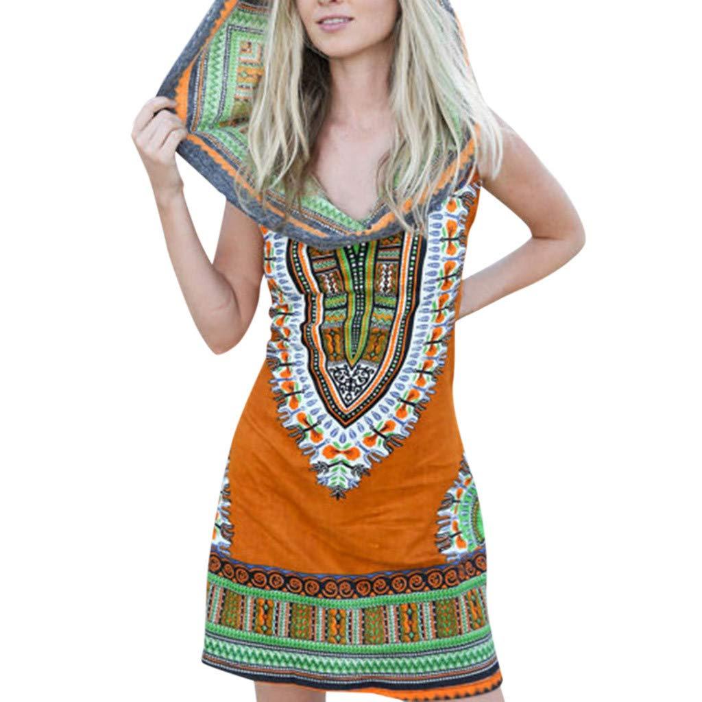 Women Boho Hooded Tunic Dress,Lady Summer Fashion Sleeveless Vintage Print Mini Beach Dresses (Large, Orange) by LANTOVI Women Dress (Image #1)