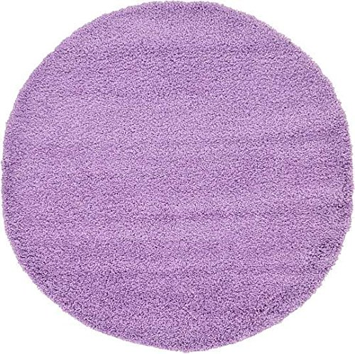 6' Polypropylene Area Rug (Unique Loom Solid Shag Collection Lilac 6 ft Round Area Rug (6' x 6'))