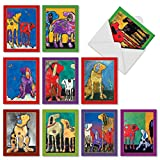 M3320sl Painted Pups: 10 Assorted Blank All-Occasion Note Cards Featuring Colorful Artist Renderings Of Adorable Dogs, w/White Envelopes.