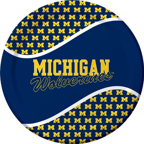 Creative Converting Michigan Wolverines Dinner Paper Plates (8 Count) (Michigan Game Table)