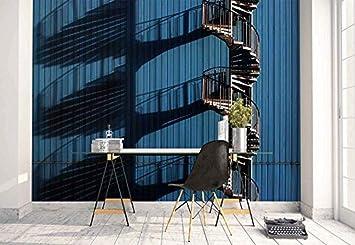 Fotomurales - Murales moderna de Diseno Pared fachada escalera de caracol sombra- Decoración de Pared decorativos - 350x250cm: Amazon.es: Bricolaje y herramientas