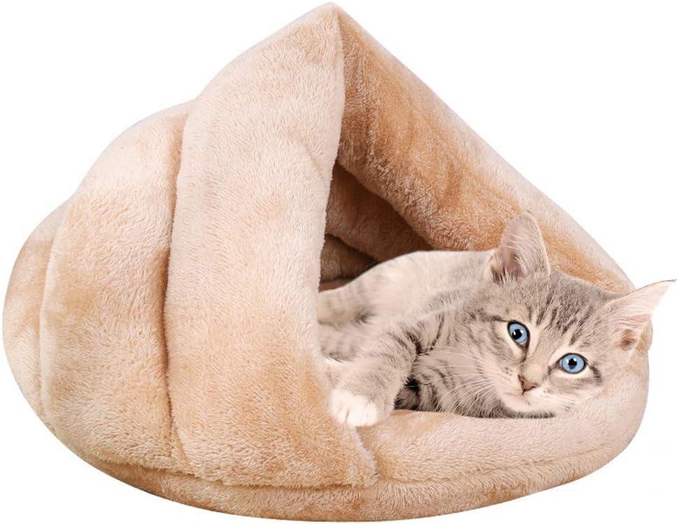Vejaoo Saco de Dormir Cálido Cuevas casa Sleeping Bed Noble Cama para Perros y Gatos Puppy Conejo Mascota XZ001 (M: 60 * 50 * 32cm, Apricot)