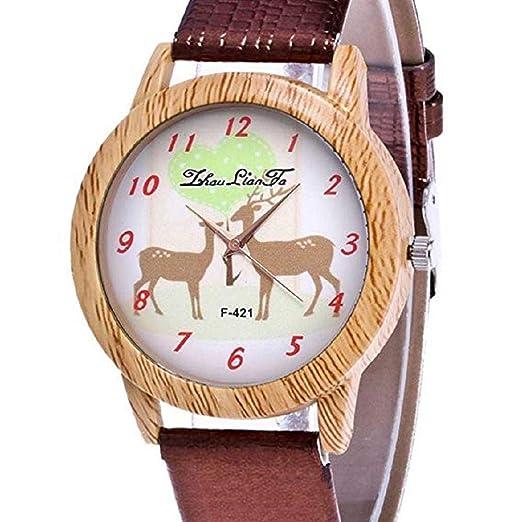 Scpink Mujeres Navidad Elk Patrón Madera Grano Analógico Señoras Relojes de Pulsera Relojes de niña Relojes