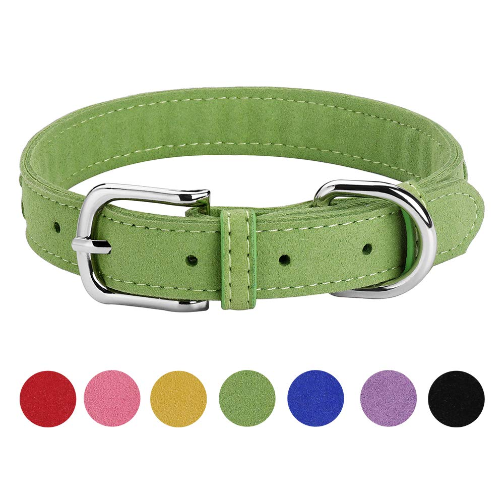 Green L Green L DAIHAQIKO Microfiber Dog Collar for Puppies Cats Small Medium Dogs Black bluee Green Pink Purple Red Yellow colorful Pet Collar with Alloy Metal Buckle Braided Decoration (L, Green)