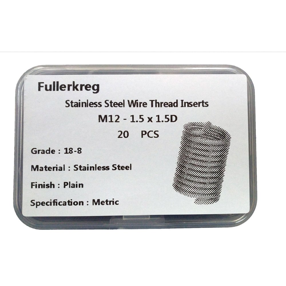 Fullerkreg Metric M12-1.5X1.5D Wire Thread Inserts,304 Stainless Steel,Fine Thread,20Pcs Fullerdongluo